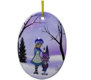 alice in winter wonderland christmas ornament